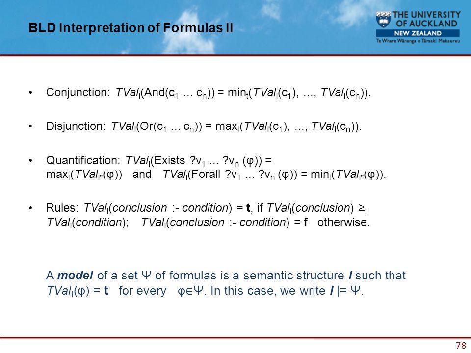 78 BLD Interpretation of Formulas II Conjunction: TVal I (And(c 1...