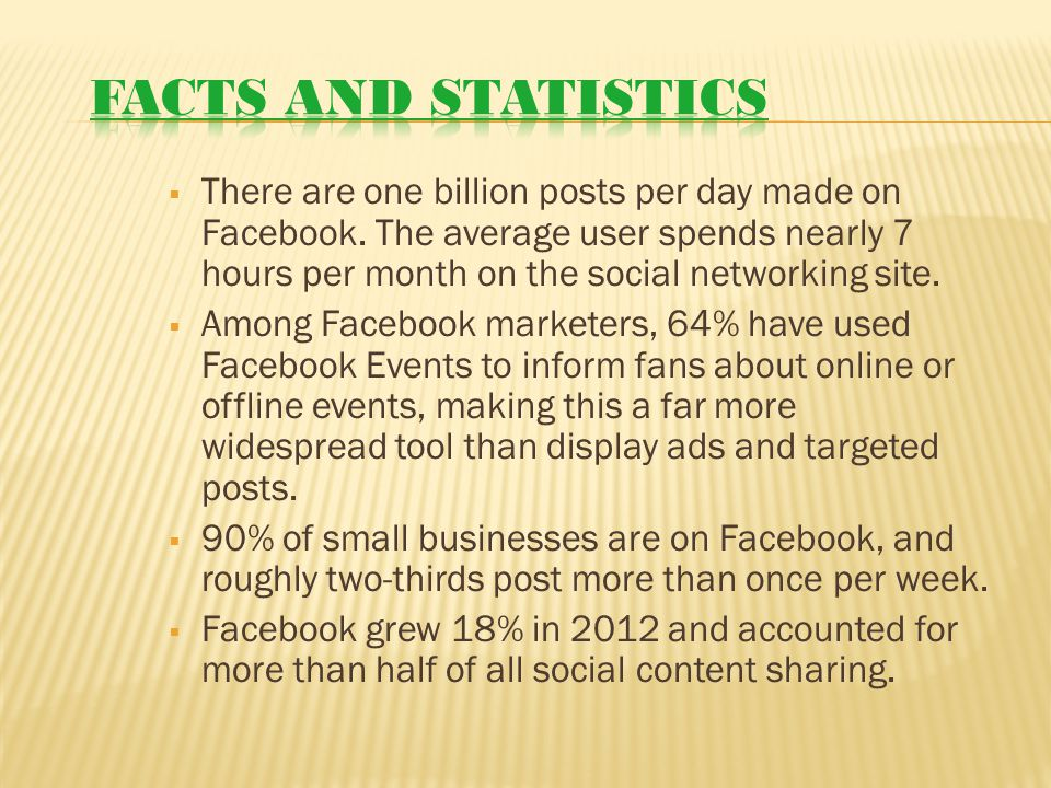  There are one billion posts per day made on Facebook.