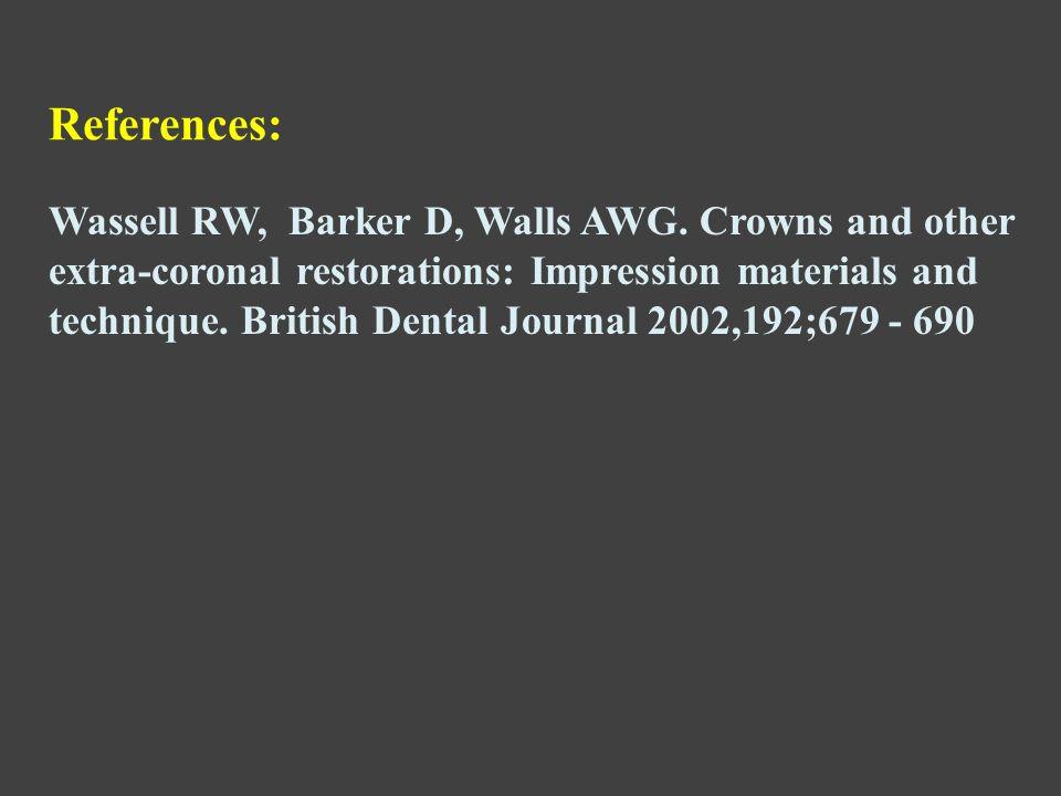 Wassell RW, Barker D, Walls AWG.