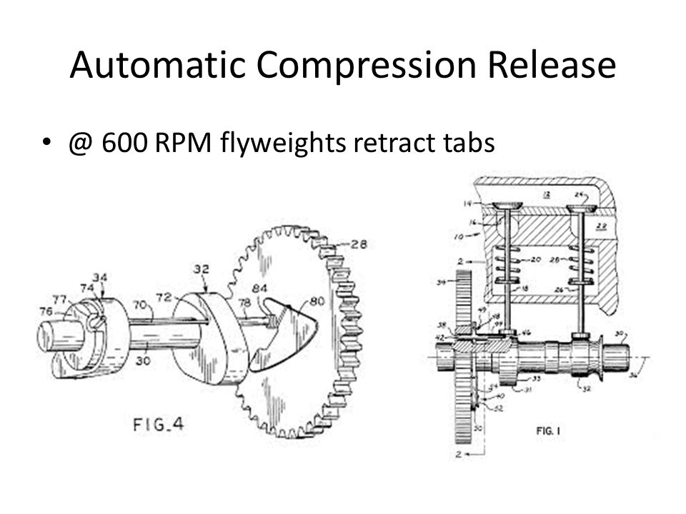 Automatic Compression Release @ 600 RPM flyweights retract tabs