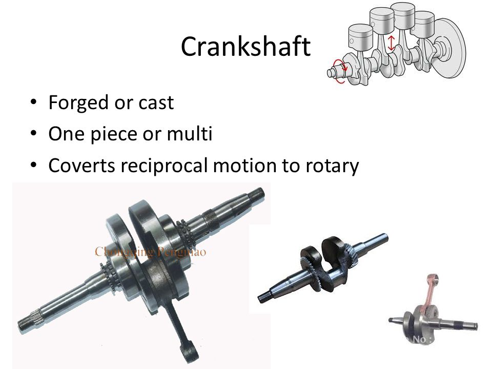 Crankshaft Forged or cast One piece or multi Coverts reciprocal motion to rotary