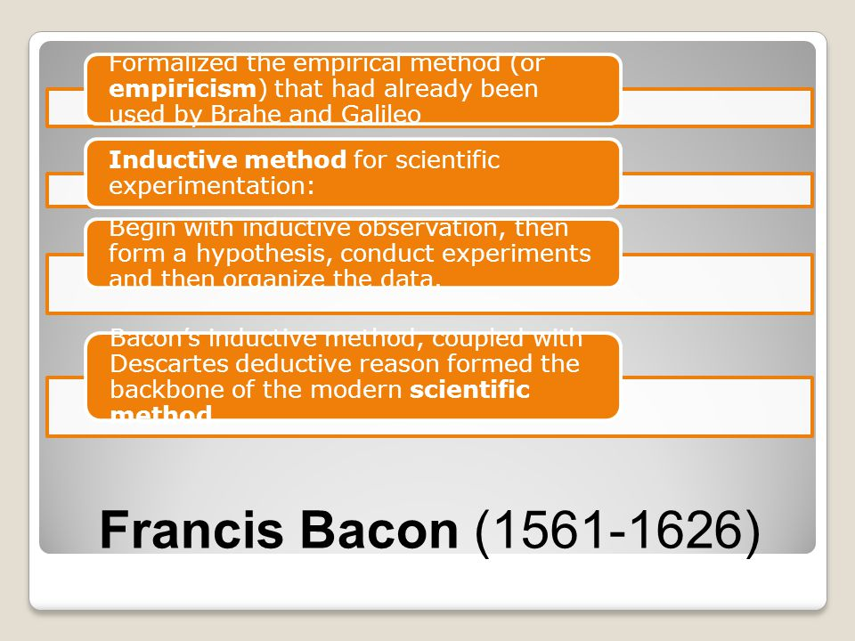 Francis Bacon (1561-1626) Formalized the empirical method (or empiricism) that had already been used by Brahe and Galileo Inductive method for scienti