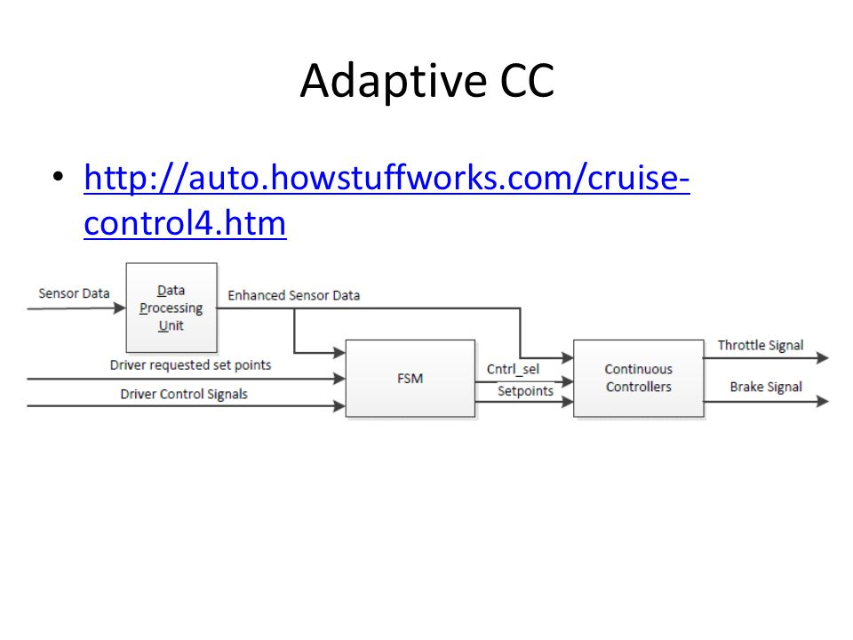 Adaptive CC http://auto.howstuffworks.com/cruise- control4.htm http://auto.howstuffworks.com/cruise- control4.htm
