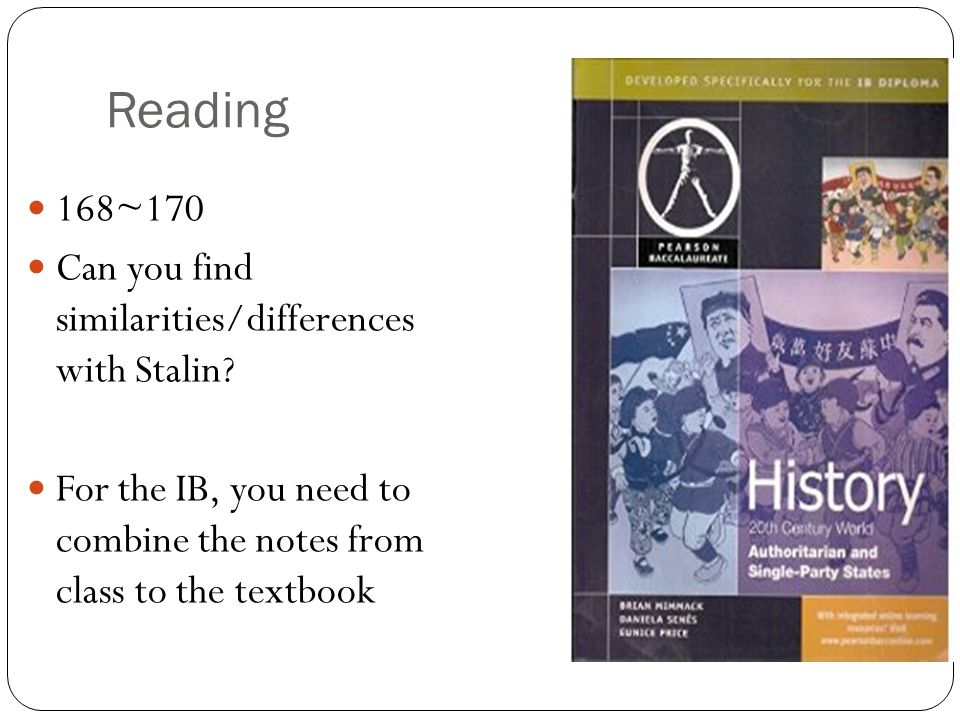 Reading 168~170 Can you find similarities/differences with Stalin.