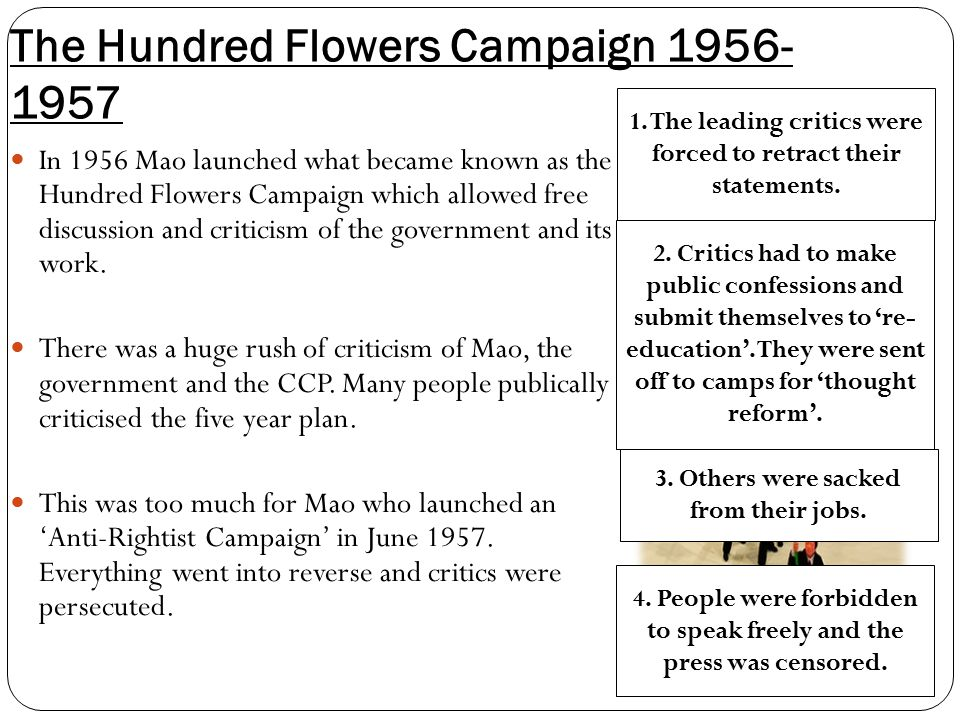 The Hundred Flowers Campaign 1956- 1957 In 1956 Mao launched what became known as the Hundred Flowers Campaign which allowed free discussion and criticism of the government and its work.