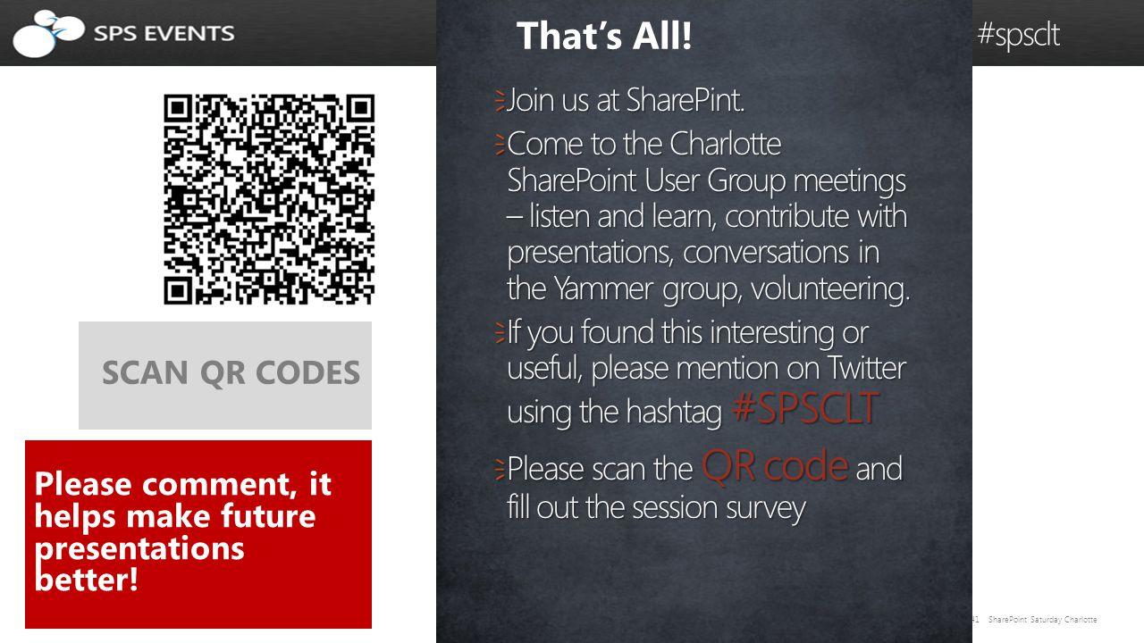 41 SharePoint Saturday Charlotte @caspug #spsclt  Join us at SharePint.