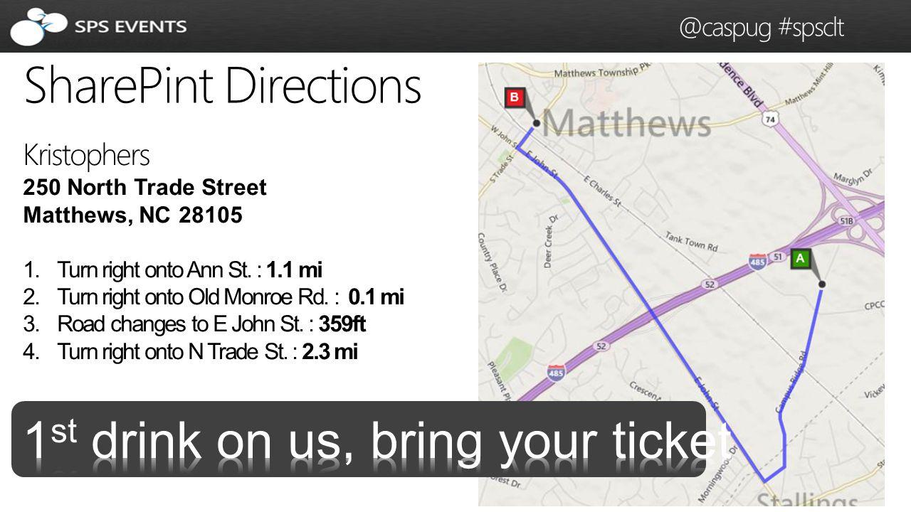 42 SharePoint Saturday Charlotte @caspug #spsclt SharePint Directions