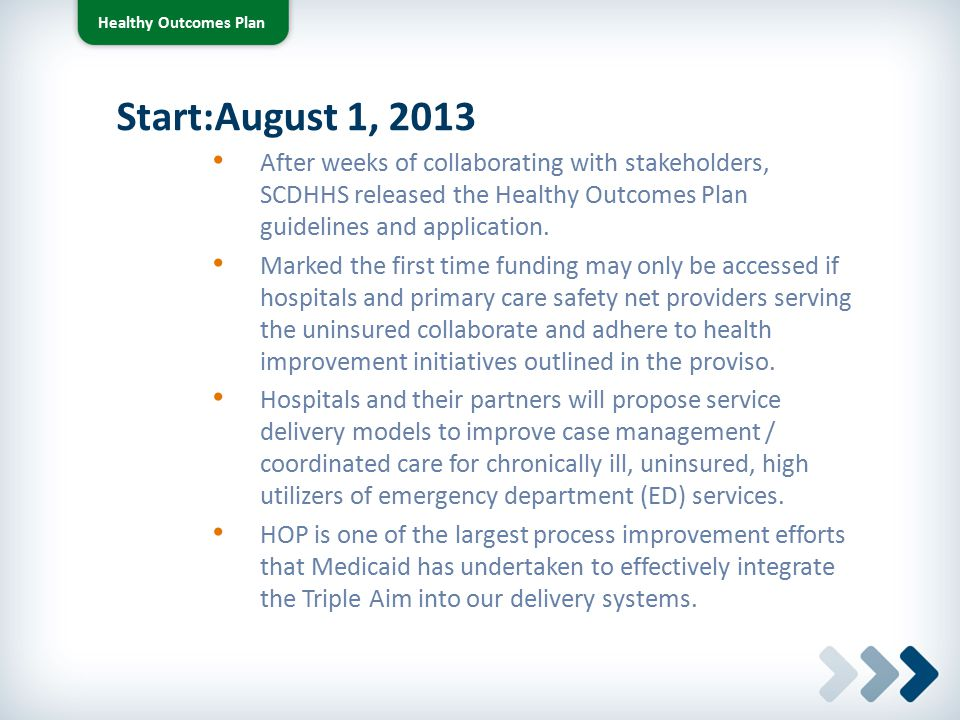 Healthy Outcomes Plan Preliminary Guidelines Criteria Targeted Outcomes Strategic Measures (Care, Cost, & Health Metrics) Measurement Periods Target Population Targeted Conditions Patient Eligibility and Program Inclusion Patient Eligibility for Health Affordability Programs Social Determinants of Health Assessment Patient Care Plans Quality and Cost Transparency Plan Evaluation Matrix