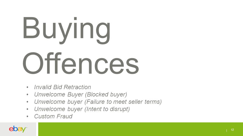 12 Buying Offences Invalid Bid Retraction Unwelcome Buyer (Blocked buyer) Unwelcome buyer (Failure to meet seller terms) Unwelcome buyer (Intent to di