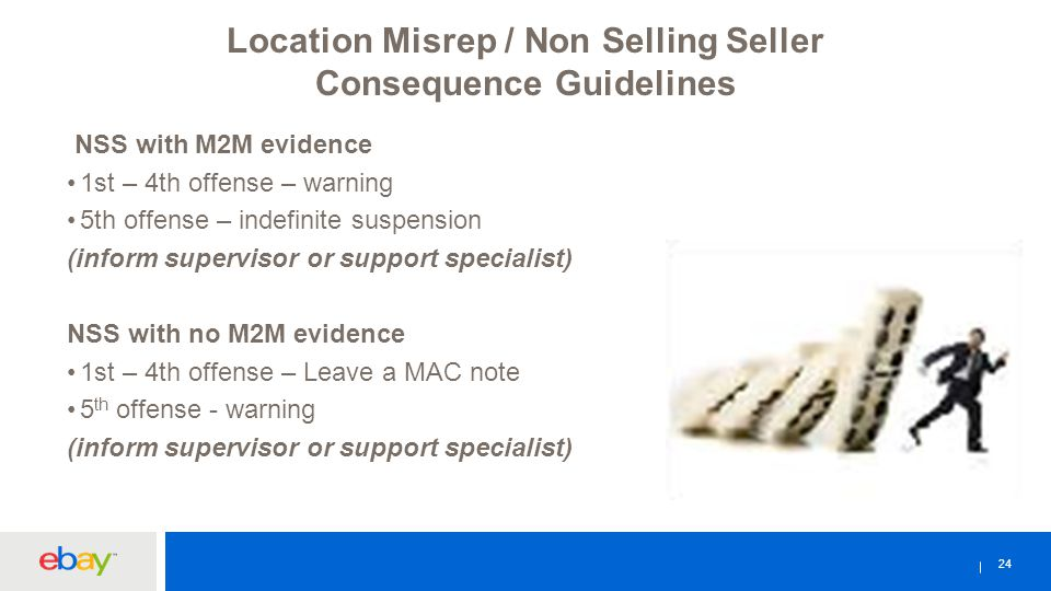 24 Location Misrep / Non Selling Seller Consequence Guidelines NSS with M2M evidence 1st – 4th offense – warning 5th offense – indefinite suspension (inform supervisor or support specialist) NSS with no M2M evidence 1st – 4th offense – Leave a MAC note 5 th offense - warning (inform supervisor or support specialist)