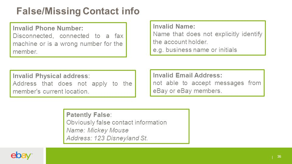 False/Missing Contact info 35 Invalid Phone Number: Disconnected, connected to a fax machine or is a wrong number for the member. Invalid Name: Name t