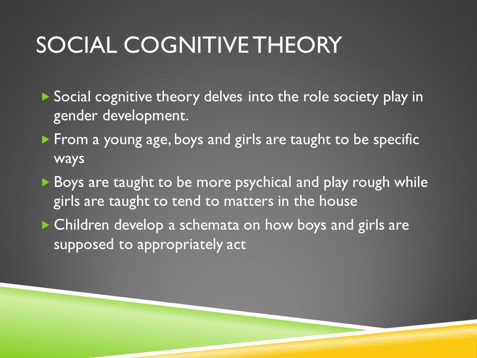 SOCIAL COGNITIVE THEORY  Social cognitive theory delves into the role society play in gender development.