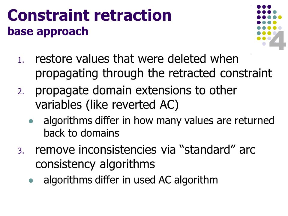 4 Constraint retraction base approach 1.