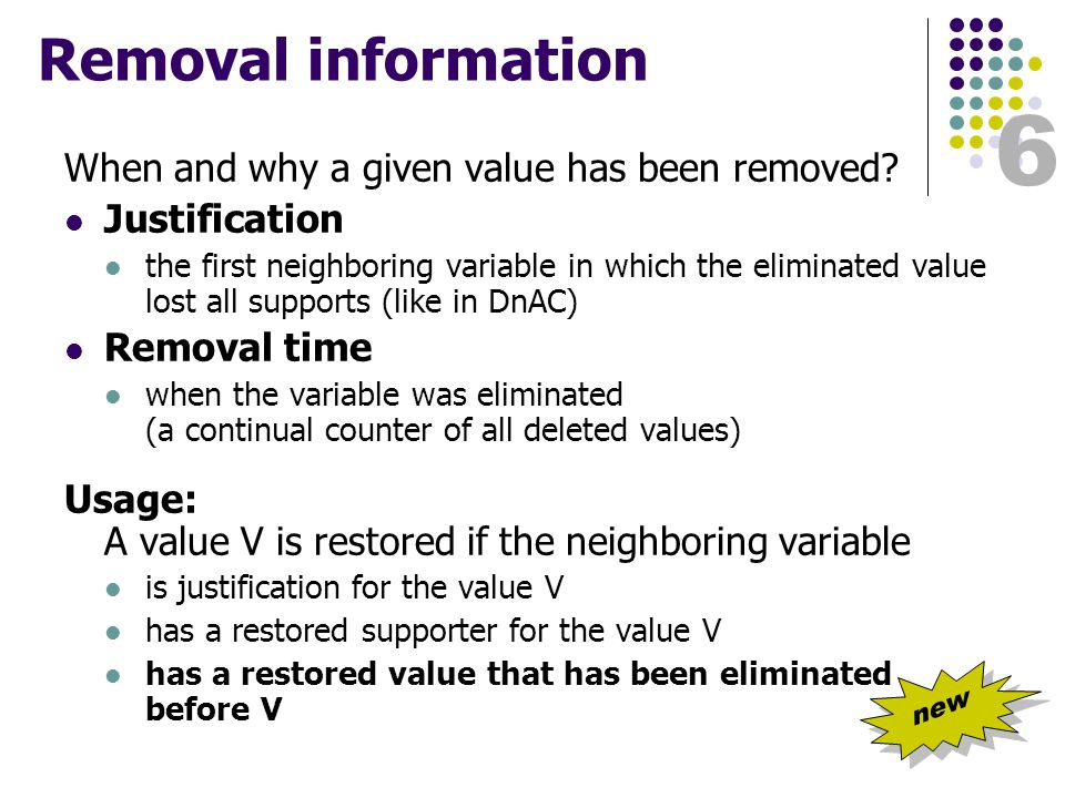 6 Removal information When and why a given value has been removed.