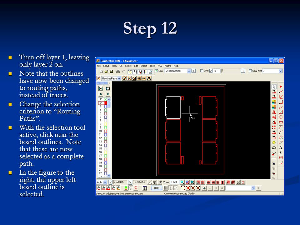 Step 12 Turn off layer 1, leaving only layer 2 on.