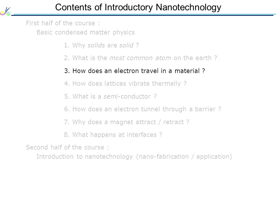 Contents of Introductory Nanotechnology First half of the course : Basic condensed matter physics 1. Why solids are solid ? 2. What is the most common