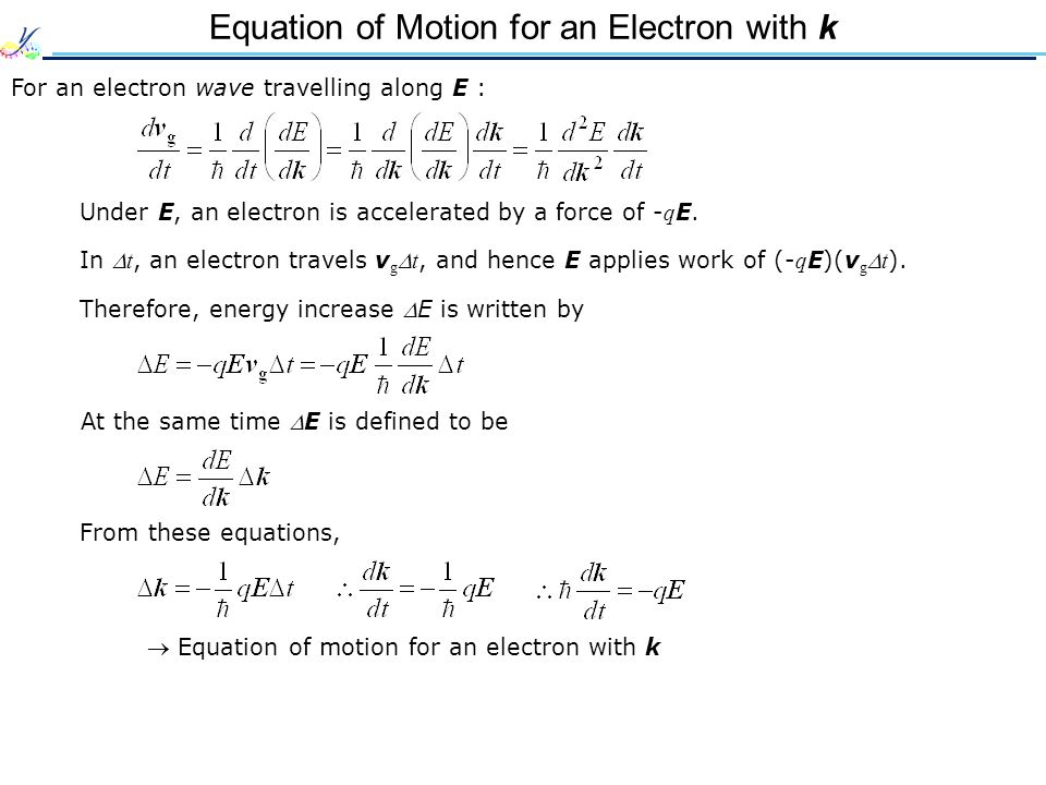 Equation of Motion for an Electron with k For an electron wave travelling along E : Under E, an electron is accelerated by a force of - q E. In  t, a