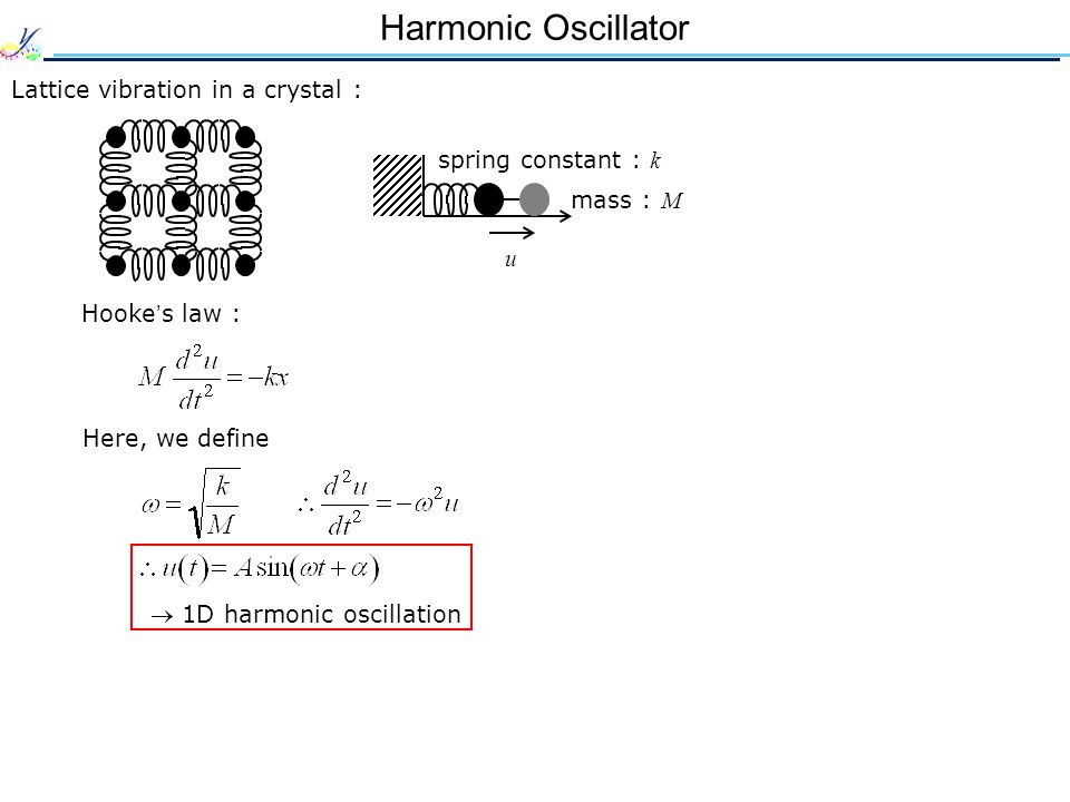 Harmonic Oscillator Lattice vibration in a crystal : Hooke ' s law : spring constant : k u mass : M Here, we define  1D harmonic oscillation