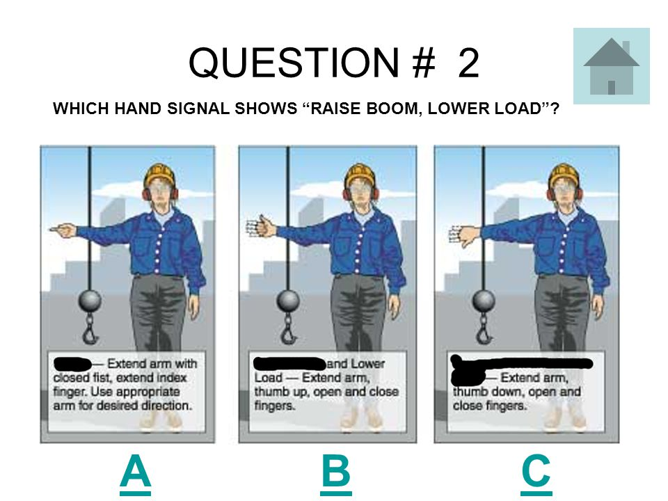 QUESTION # 2 ABCABC WHICH HAND SIGNAL SHOWS RAISE BOOM, LOWER LOAD ?