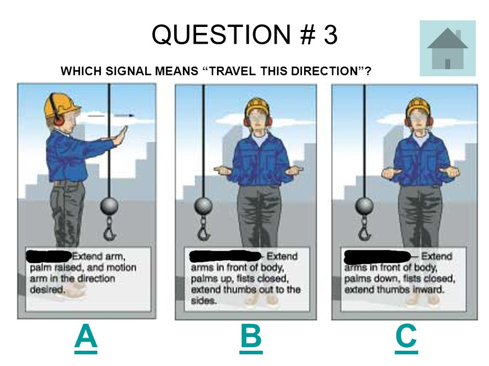 QUESTION # 3 A B C WHICH SIGNAL MEANS TRAVEL THIS DIRECTION ?