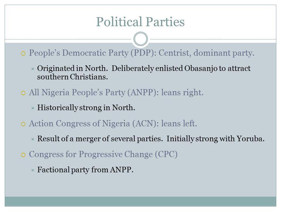Political Parties  People's Democratic Party (PDP): Centrist, dominant party.