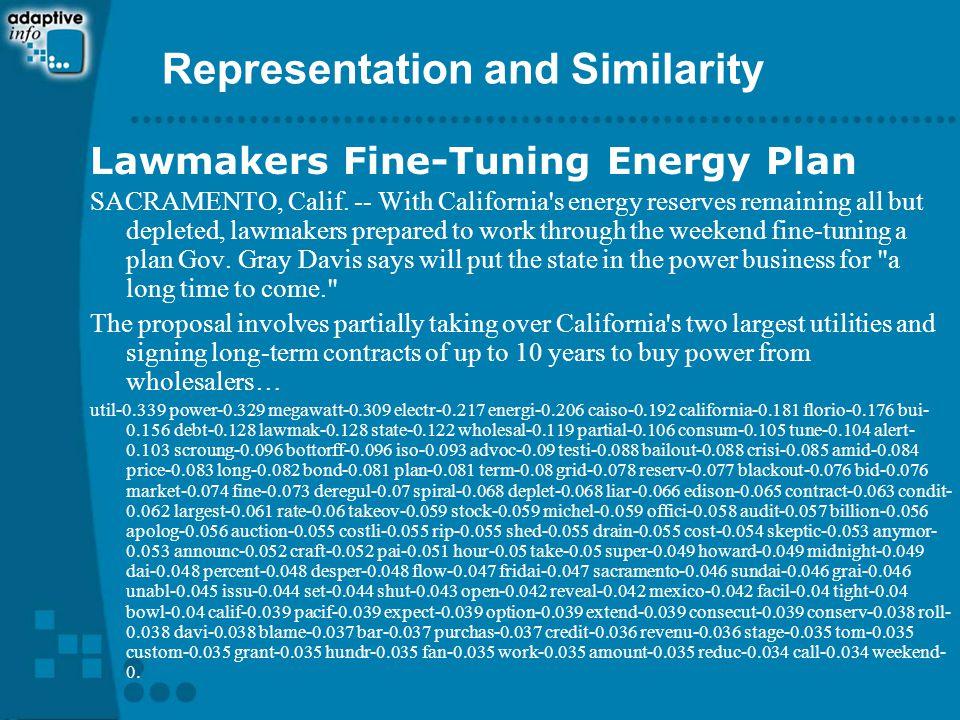 Representation and Similarity Lawmakers Fine-Tuning Energy Plan SACRAMENTO, Calif.