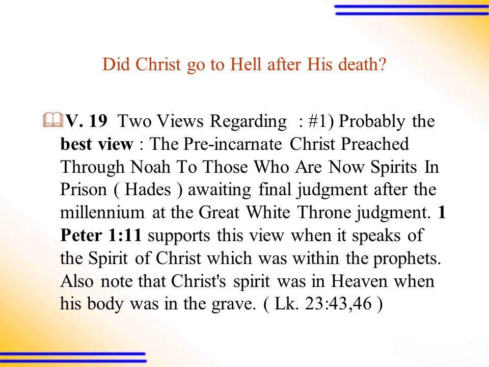 Did Christ go to Hell after His death.  V.