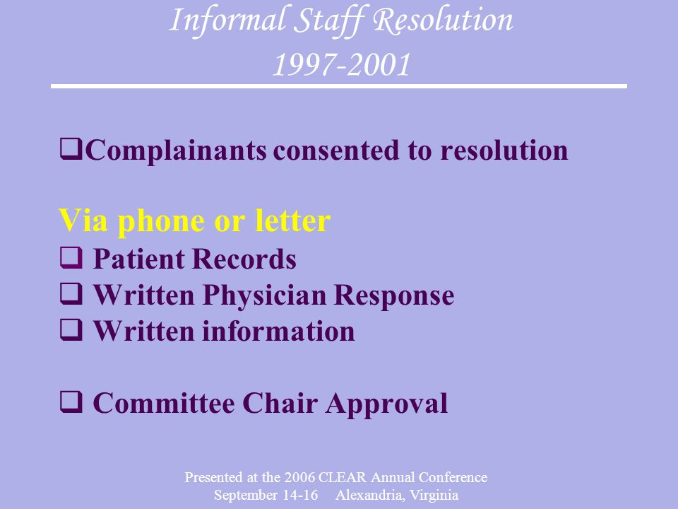 Presented at the 2006 CLEAR Annual Conference September 14-16 Alexandria, Virginia Informal Staff Resolution 1997-2001  Complainants consented to resolution Via phone or letter  Patient Records  Written Physician Response  Written information  Committee Chair Approval