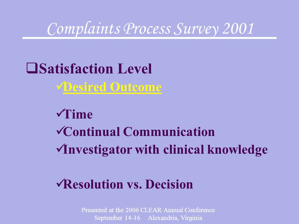 Presented at the 2006 CLEAR Annual Conference September 14-16 Alexandria, Virginia Complaints Process Survey 2001  Satisfaction Level Desired Outcome Time Continual Communication Investigator with clinical knowledge Resolution vs.