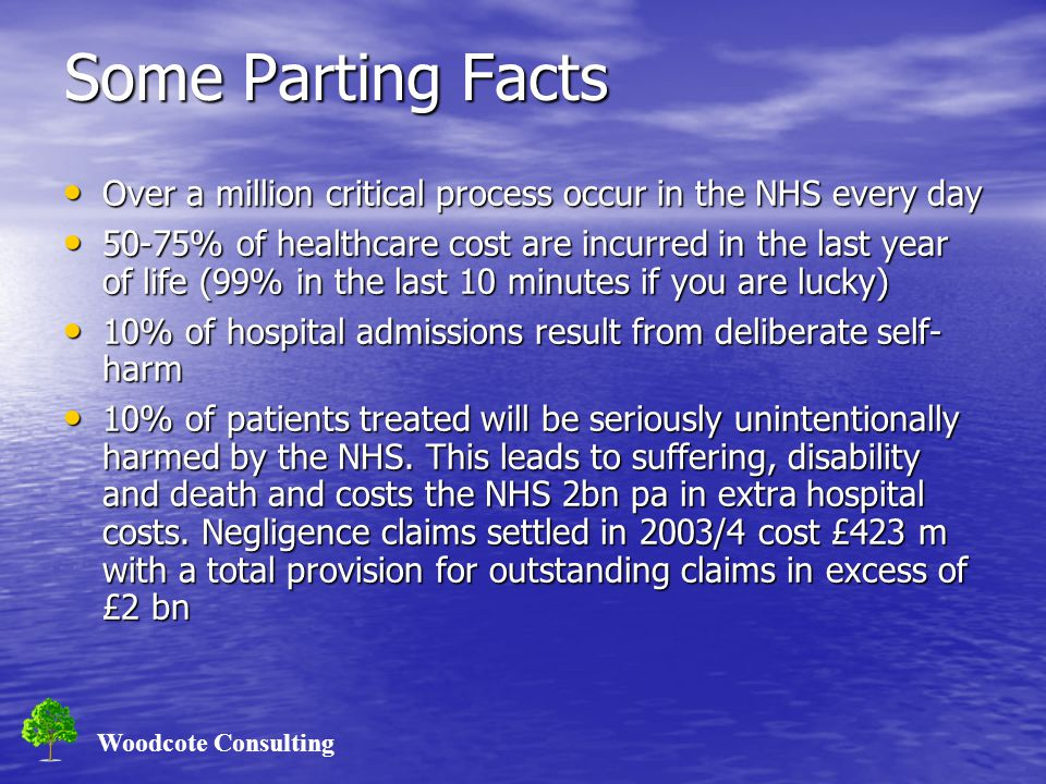 Woodcote Consulting Some Parting Facts Over a million critical process occur in the NHS every day Over a million critical process occur in the NHS every day 50-75% of healthcare cost are incurred in the last year of life (99% in the last 10 minutes if you are lucky) 50-75% of healthcare cost are incurred in the last year of life (99% in the last 10 minutes if you are lucky) 10% of hospital admissions result from deliberate self- harm 10% of hospital admissions result from deliberate self- harm 10% of patients treated will be seriously unintentionally harmed by the NHS.