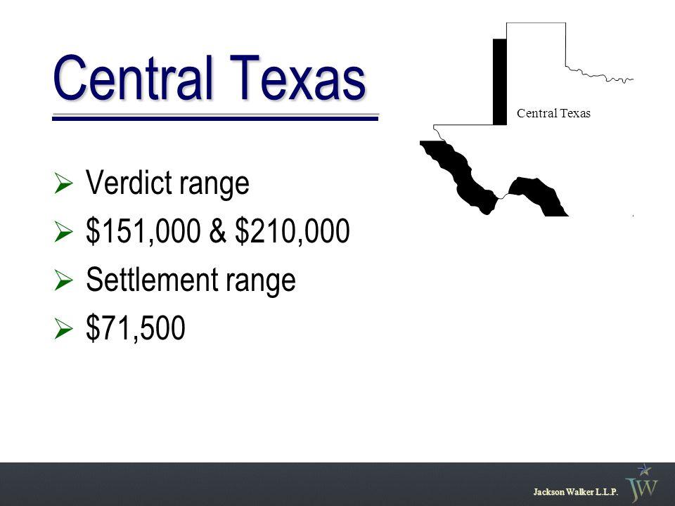  Verdict range  $151,000 & $210,000  Settlement range  $71,500 Jackson Walker L.L.P.