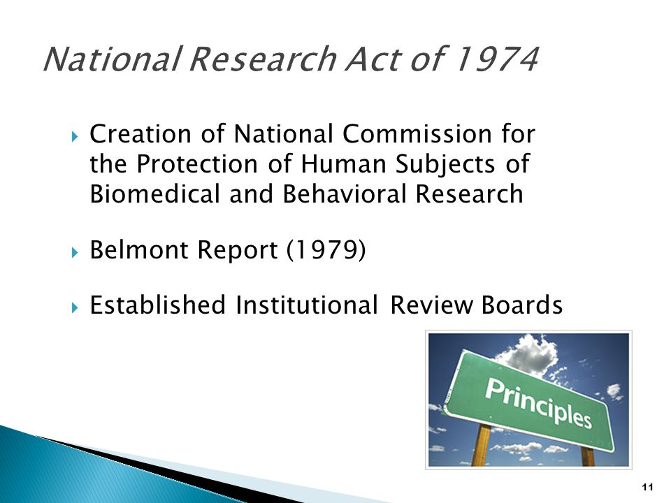 11  Creation of National Commission for the Protection of Human Subjects of Biomedical and Behavioral Research  Belmont Report (1979)  Established