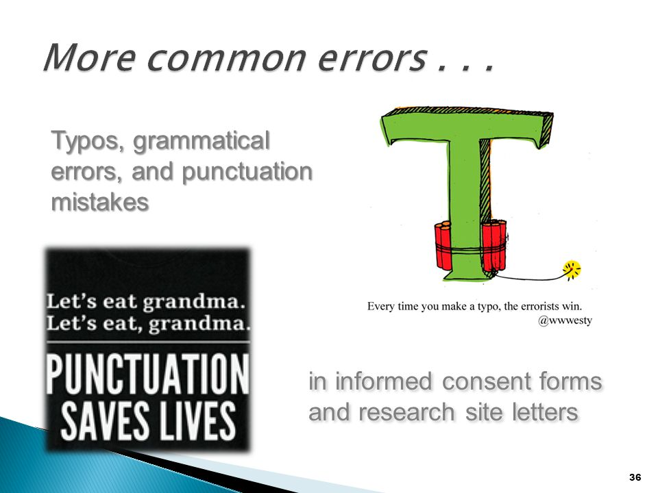 36 Typos, grammatical errors, and punctuation mistakes in informed consent forms and research site letters in informed consent forms and research site