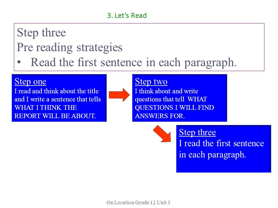On Location Grade 12 Unit 3 Step three Pre reading strategies Read the first sentence in each paragraph.