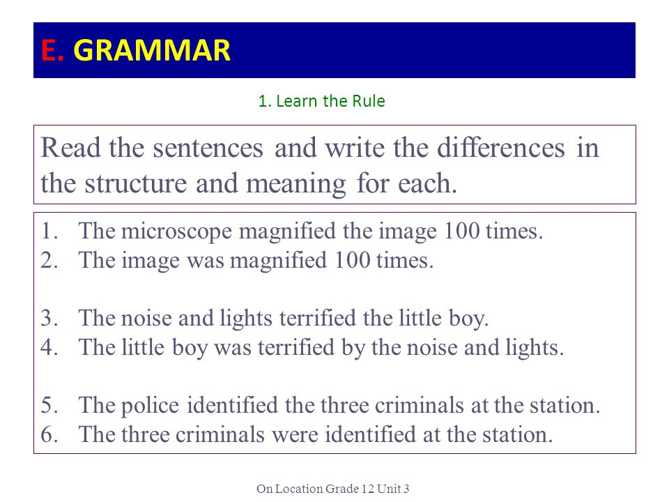 On Location Grade 12 Unit 3 Read the sentences and write the differences in the structure and meaning for each.