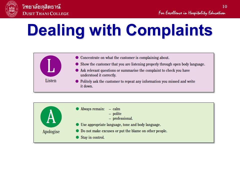 10 Dealing with Complaints