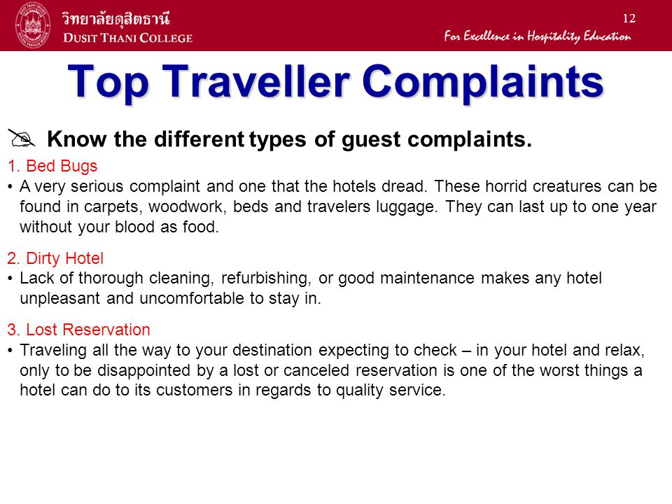 12 Top Traveller Complaints  Know the different types of guest complaints.