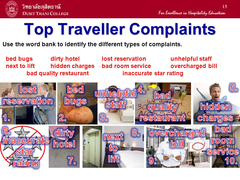 15 Top Traveller Complaints Use the word bank to identify the different types of complaints.
