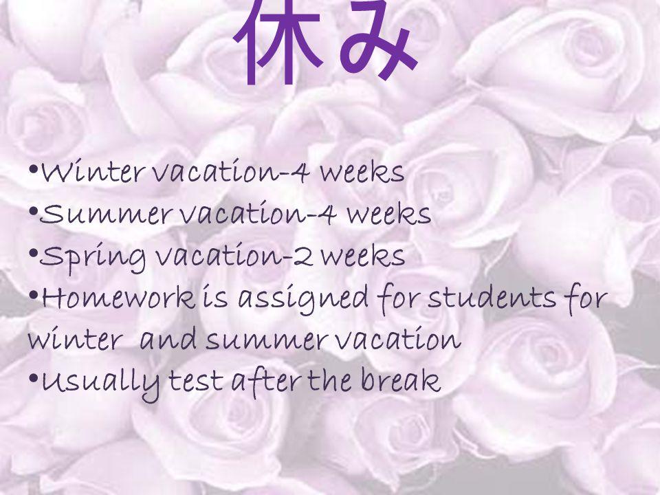 休み Winter vacation-4 weeks Summer vacation-4 weeks Spring vacation-2 weeks Homework is assigned for students for winter and summer vacation Usually te