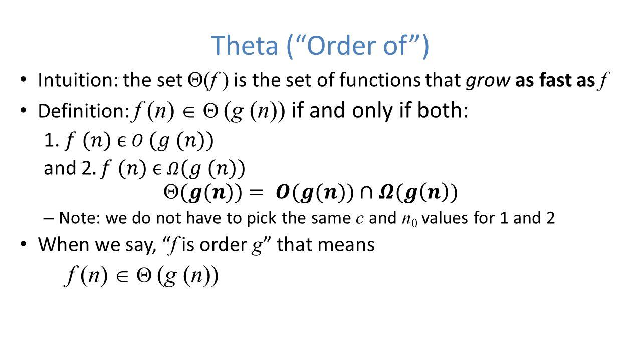 Theta ( Order of )