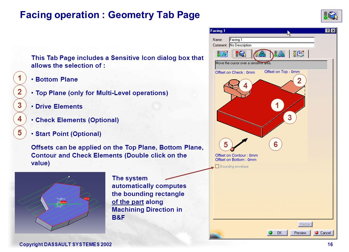 Copyright DASSAULT SYSTEMES 200216 2 1 This Tab Page includes a Sensitive Icon dialog box that allows the selection of : Bottom Plane Top Plane (only