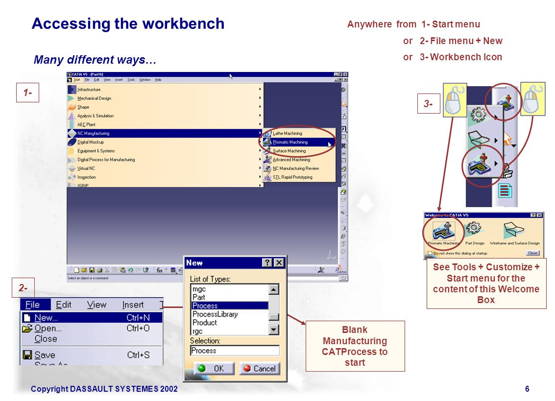 Copyright DASSAULT SYSTEMES 20026 Anywhere from 1- Start menu or 2- File menu + New or 3- Workbench Icon 1- 2- 3- See Tools + Customize + Start menu f