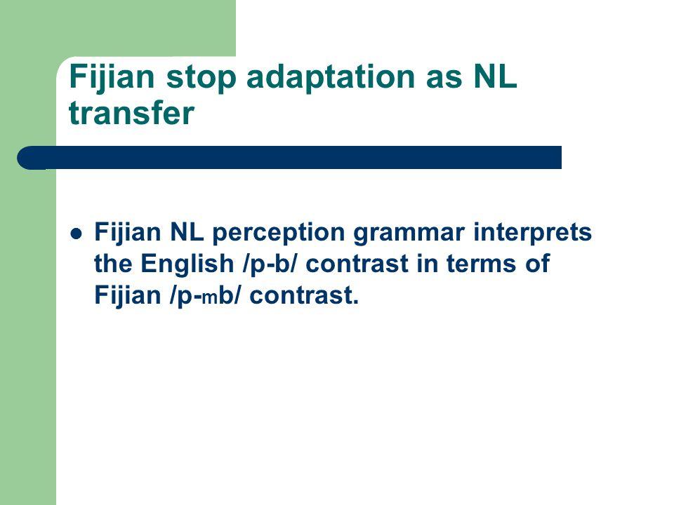 Fijian stop adaptation as NL transfer Fijian NL perception grammar interprets the English /p-b/ contrast in terms of Fijian /p- m b/ contrast.