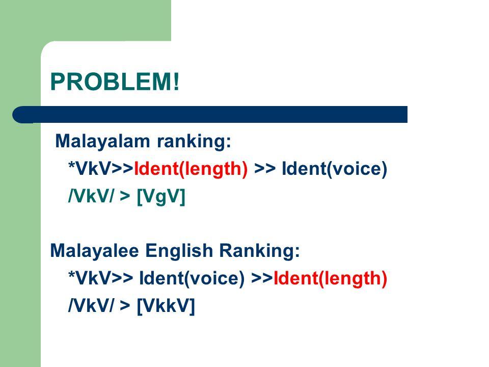 PROBLEM! Malayalam ranking: *VkV>>Ident(length) >> Ident(voice) /VkV/ > [VgV] Malayalee English Ranking: *VkV>> Ident(voice) >>Ident(length) /VkV/ > [