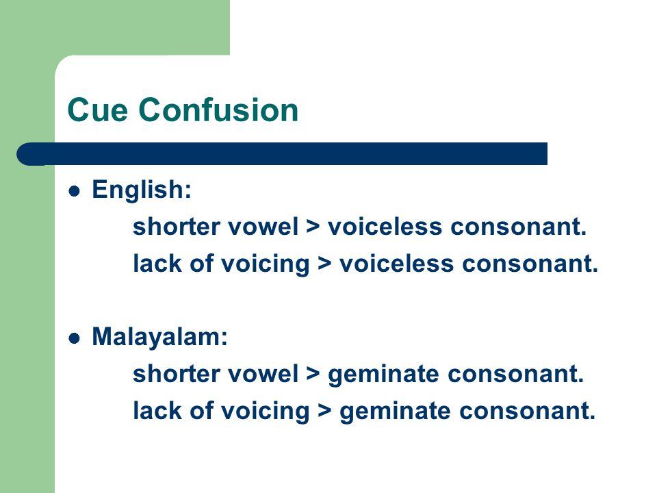 Cue Confusion English: shorter vowel > voiceless consonant. lack of voicing > voiceless consonant. Malayalam: shorter vowel > geminate consonant. lack