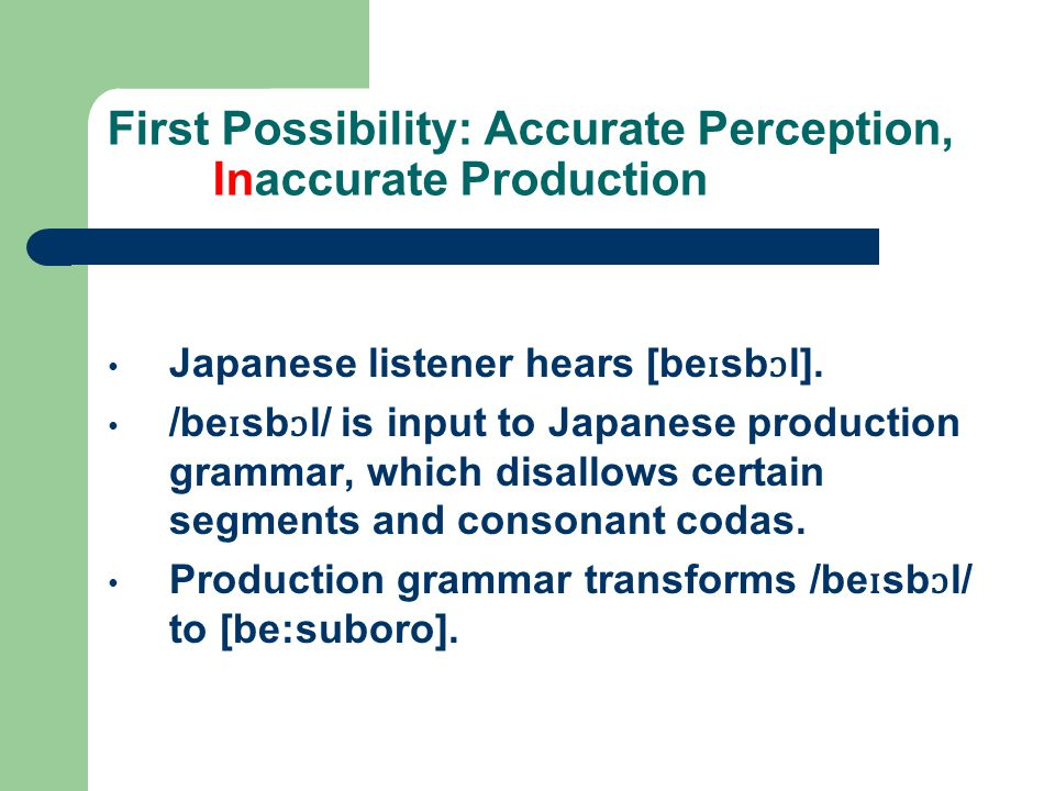 First Possibility: Accurate Perception, Inaccurate Production Japanese listener hears [be ɪ sb ɔ l]. /be ɪ sb ɔ l/ is input to Japanese production gra