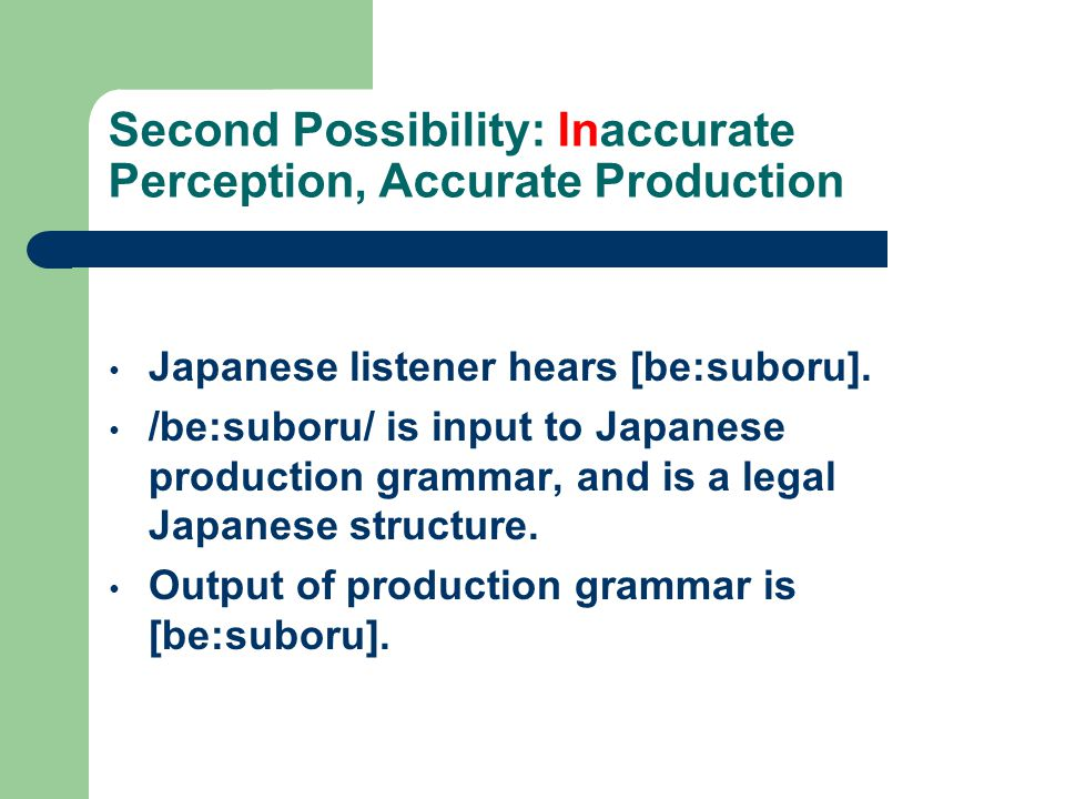Possibility One: Accurate Perception, Inaccurate Production According to Korean grammar: Both /l/ and /r/ should be pronounced as /l/ in syllable coda, as /r/ in syllable onset.