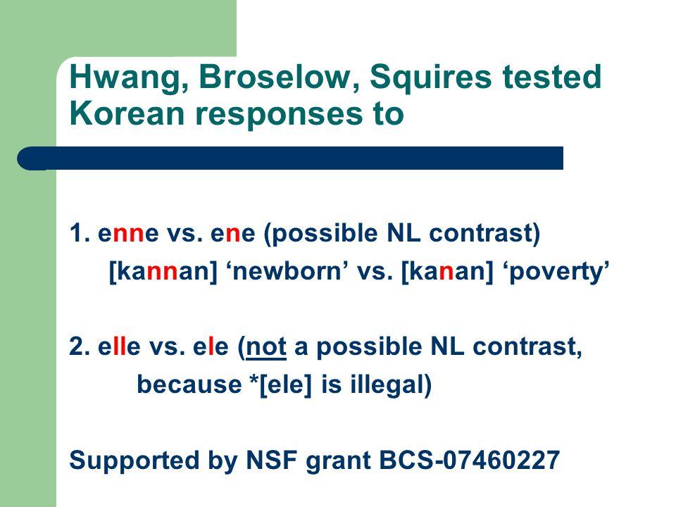 Hwang, Broselow, Squires tested Korean responses to 1. enne vs. ene (possible NL contrast) [kannan] 'newborn' vs. [kanan] 'poverty' 2. elle vs. ele (n