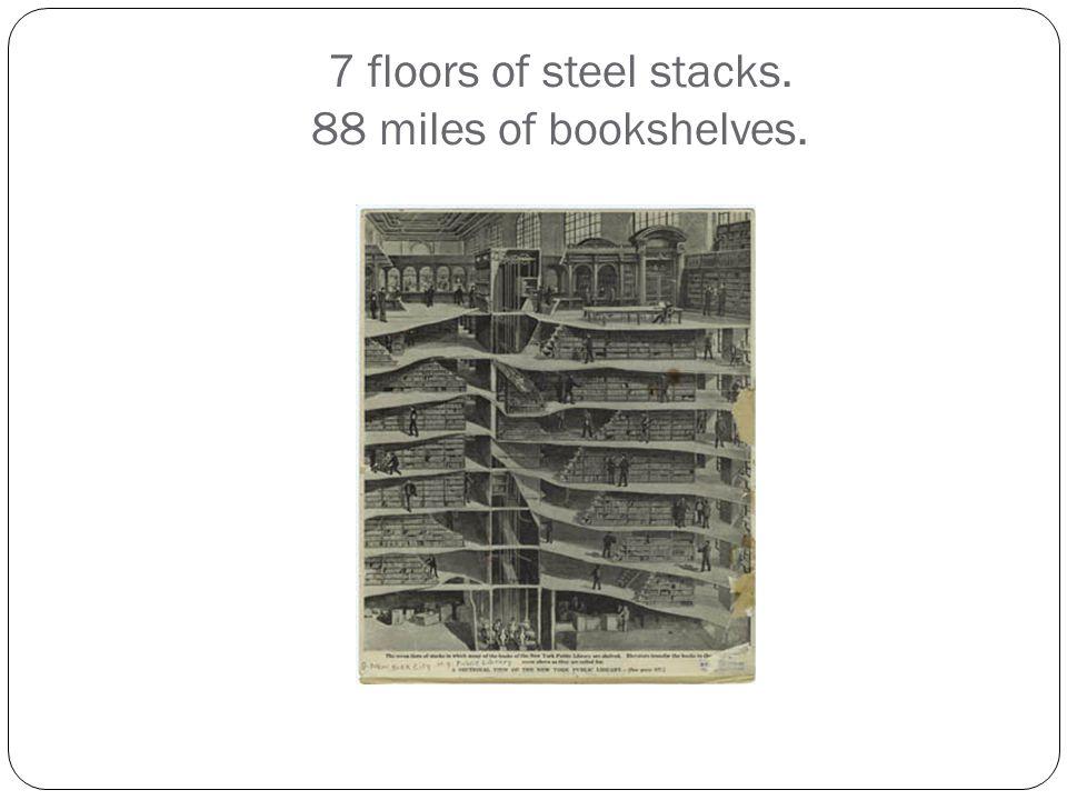 7 floors of steel stacks. 88 miles of bookshelves.