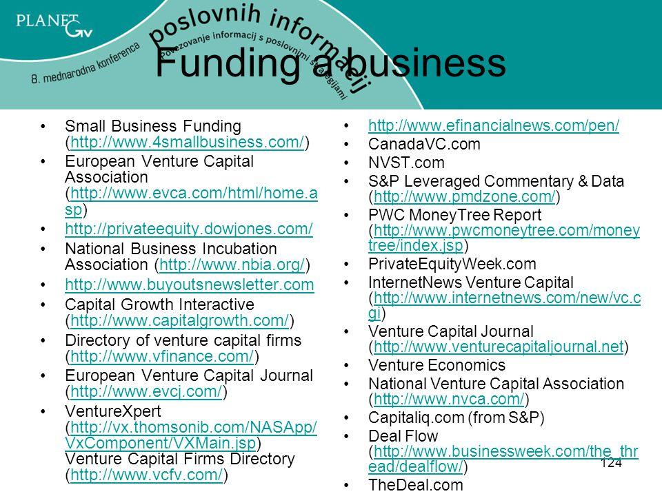 124 Funding a business Small Business Funding (http://www.4smallbusiness.com/)http://www.4smallbusiness.com/ European Venture Capital Association (http://www.evca.com/html/home.a sp)http://www.evca.com/html/home.a sp http://privateequity.dowjones.com/ National Business Incubation Association (http://www.nbia.org/)http://www.nbia.org/ http://www.buyoutsnewsletter.com Capital Growth Interactive (http://www.capitalgrowth.com/)http://www.capitalgrowth.com/ Directory of venture capital firms (http://www.vfinance.com/)http://www.vfinance.com/ European Venture Capital Journal (http://www.evcj.com/)http://www.evcj.com/ VentureXpert (http://vx.thomsonib.com/NASApp/ VxComponent/VXMain.jsp) Venture Capital Firms Directory (http://www.vcfv.com/)http://vx.thomsonib.com/NASApp/ VxComponent/VXMain.jsphttp://www.vcfv.com/ http://www.efinancialnews.com/pen/ CanadaVC.com NVST.com S&P Leveraged Commentary & Data (http://www.pmdzone.com/)http://www.pmdzone.com/ PWC MoneyTree Report (http://www.pwcmoneytree.com/money tree/index.jsp)http://www.pwcmoneytree.com/money tree/index.jsp PrivateEquityWeek.com InternetNews Venture Capital (http://www.internetnews.com/new/vc.c gi)http://www.internetnews.com/new/vc.c gi Venture Capital Journal (http://www.venturecapitaljournal.net)http://www.venturecapitaljournal.net Venture Economics National Venture Capital Association (http://www.nvca.com/)http://www.nvca.com/ Capitaliq.com (from S&P) Deal Flow (http://www.businessweek.com/the_thr ead/dealflow/)http://www.businessweek.com/the_thr ead/dealflow/ TheDeal.com